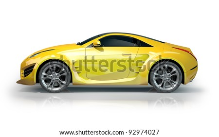 Yellow sports car isolated on white background. Non-branded car design. - stock photo