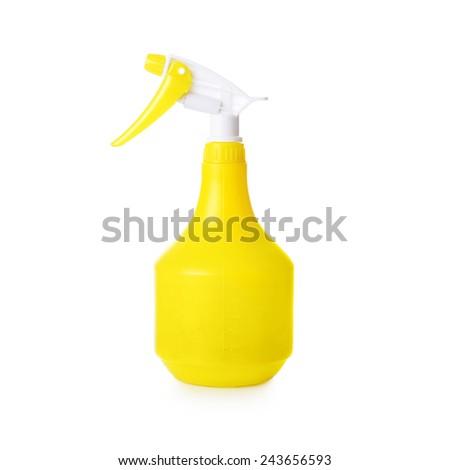 yellow spray on white background - stock photo
