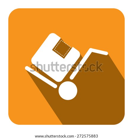 Yellow Square Delivery or Shipping Long Shadow Style Icon, Label, Sticker, Sign or Banner Isolated on White Background - stock photo