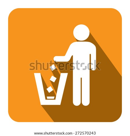 Yellow Square Dustbin, Litter Bin or Trash Can Long Shadow Style Icon, Label, Sticker, Sign or Banner Isolated on White Background - stock photo