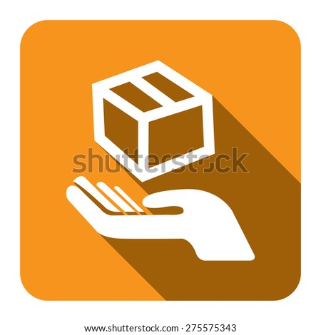 Yellow Square Hand With Box, Handle With Care, Do Not Drop Flat Long Shadow Style Icon, Label, Sticker, Sign or Banner Isolated on White Background - stock photo