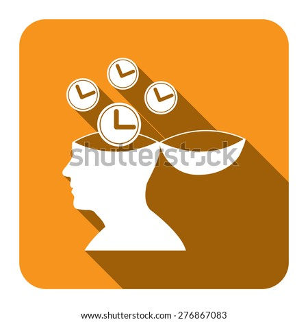 Yellow Square Head With Clock, Time Saving, Time Management Flat Long Shadow Style Icon, Label, Sticker, Sign or Banner Isolated on White Background - stock photo