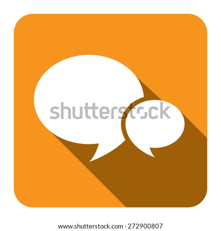 Yellow Square Speech Bubble Long Shadow Style Icon, Label, Sticker, Sign or Banner Isolated on White Background - stock photo