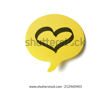 Yellow sticker with shape of speech bubble, clipping path included - stock photo