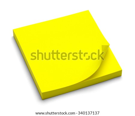 Yellow Sticky Note Pad Isolated on a White Background. - stock photo