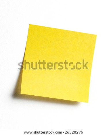 Yellow sticky note with shade - stock photo