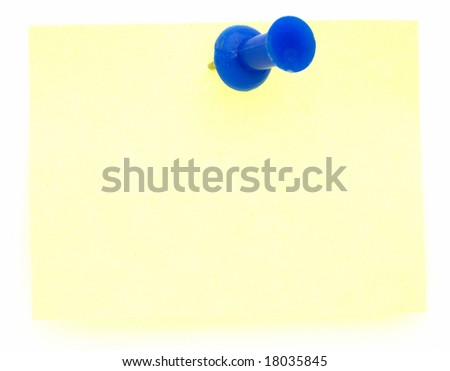 yellow sticky pad with a blue push pin - stock photo