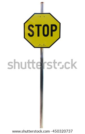 Yellow Stop Sign, Isolated Traffic Regulatory Warning Signage Octagon, black Octagonal Frame isolated on white background. Object with clipping path. - stock photo