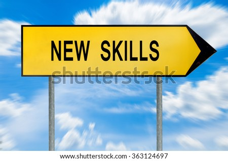 Yellow street concept new skills sign - stock photo
