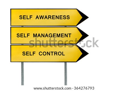 Yellow street concept self management sign - stock photo