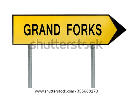Yellow street concept sign Grand Forks isolated on white - stock photo