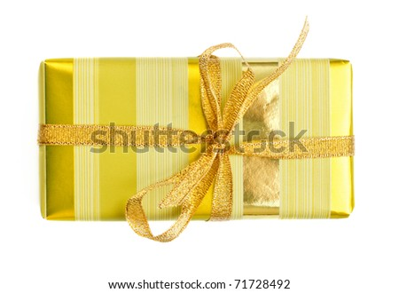 yellow striped gift box isolated on white - stock photo