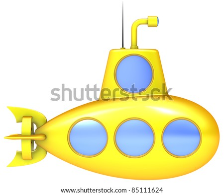 Yellow submarine isolated on white background. - stock photo