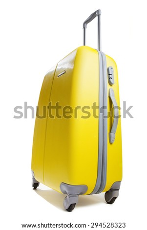 yellow suitcase isolated on white - stock photo