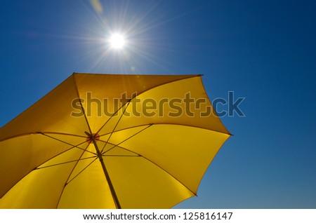 yellow sun protector - stock photo