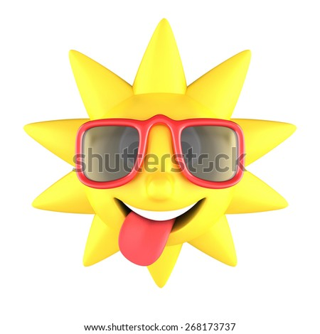 Yellow sun with sunglasses on smiling, tongue sticking out, isolated on white background - stock photo