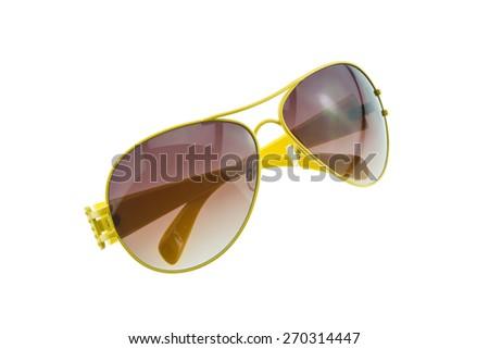 Yellow sunglasses isolated on white background - stock photo