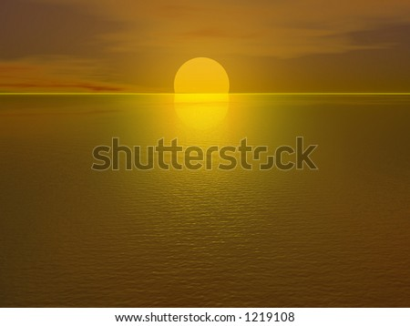 Yellow sunset, a bit more than half the sun is visible - stock photo