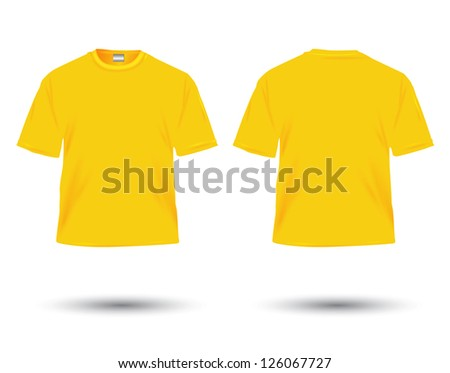 yellow t-shirt illustration on white. - stock photo