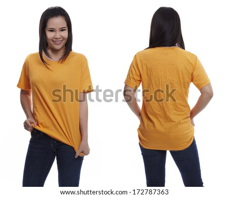 Yellow t-shirt on a young woman isolated front and back-Studio Shot - stock photo