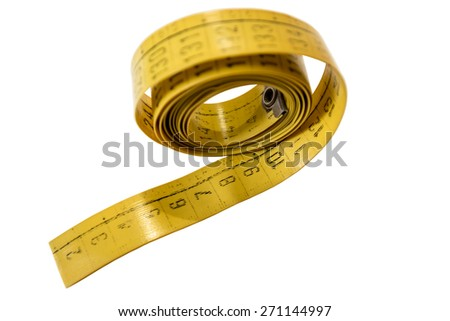 Yellow tailor measuring tape - stock photo