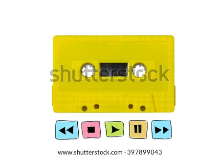 yellow tape cassette with radio player button sign  - stock photo