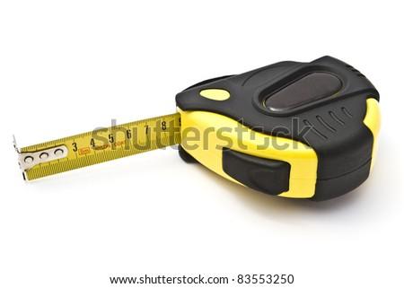 Yellow tape measure closeup on white background - stock photo