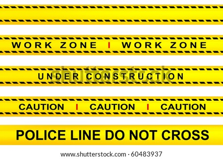 Yellow tape warning, work zone, under construction, police line and caution advertisements - stock photo