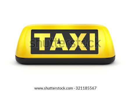 Yellow taxi automobile sign isolated on white background - stock photo