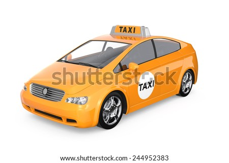 Yellow taxi isolated on white background. Clipping path available. - stock photo