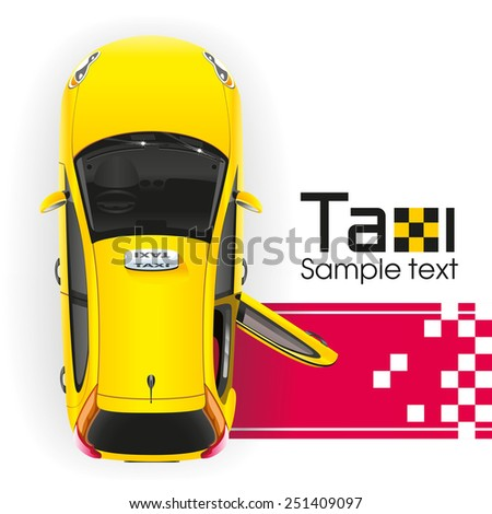 Yellow taxi with the tailgate open will have a very important person on the red carpet - stock photo