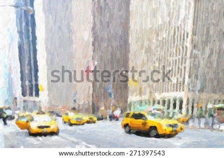 Yellow taxis in the streets of Manhattan - stock photo