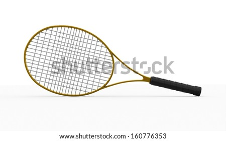 Yellow tennis racket rendered isolated on white - stock photo