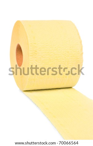 Yellow toilet paper isolated on white background - stock photo