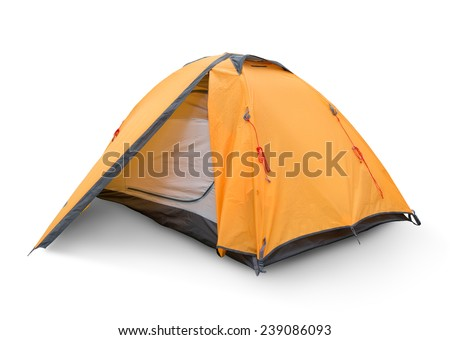 Yellow tourist tent isolated on a white backgrouynd - stock photo