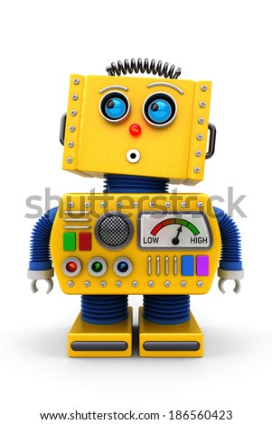 Yellow toy robot is looking surprised up in the air - stock photo