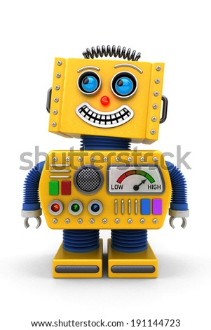 Yellow toy robot is looking up in the air with a big smile on its face - stock photo