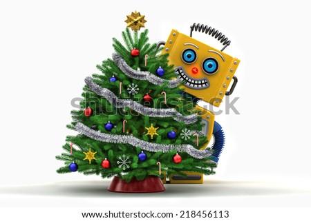 Yellow toy robot standing behind a nicely decorated christmas tree smiling over white background - stock photo