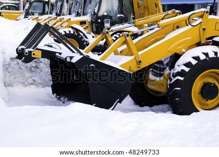 yellow tractors - stock photo