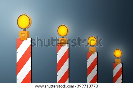 Yellow traffic warning lamps background. clipping path. 3d rendering - stock photo