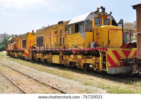 Yellow train in Jordan,Amman - stock photo