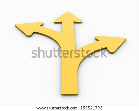Yellow tree arrows concept rendered isolated on white background - stock photo