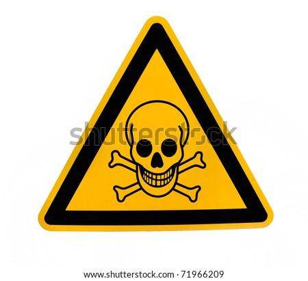 Yellow triangular danger sign with black skull - stock photo