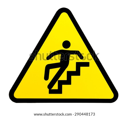 Yellow triangular sign warning for slippery stairs when wet - stock photo