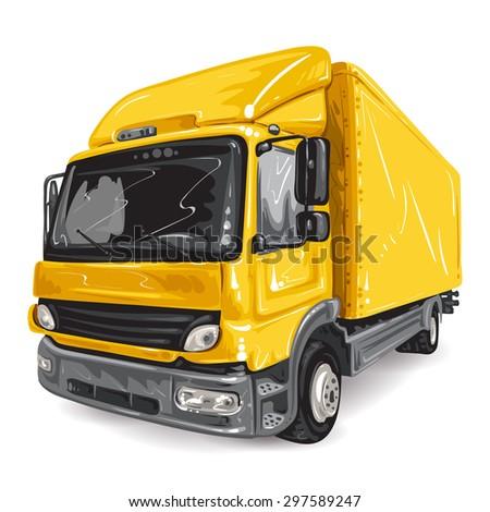 Yellow Truck on white background - stock photo