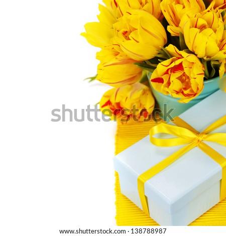 yellow tulips and gift box - stock photo