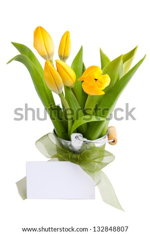 Yellow tulips in bucket with greeting card isolated on a white background - stock photo