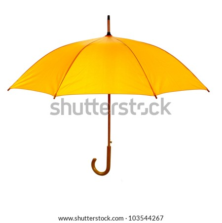 Yellow umbrella isolated against white background - stock photo