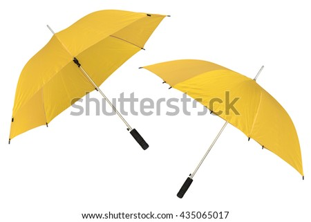 yellow umbrella isolated on a white background - stock photo