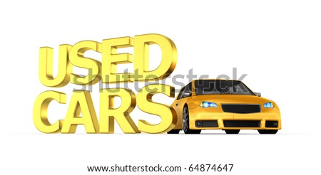 Yellow used car - 3d render - stock photo